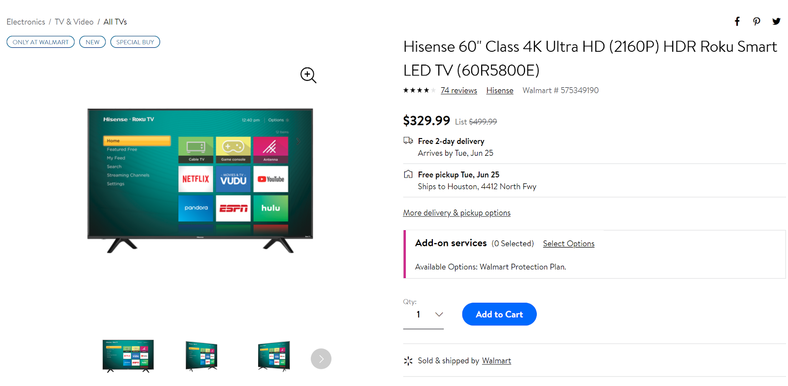 Get a 60-inch Hisense Roku TV for just $330 ($170 off) at Walmart