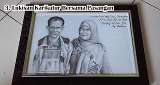 Lukisan Karikatur Bersama Pasangan