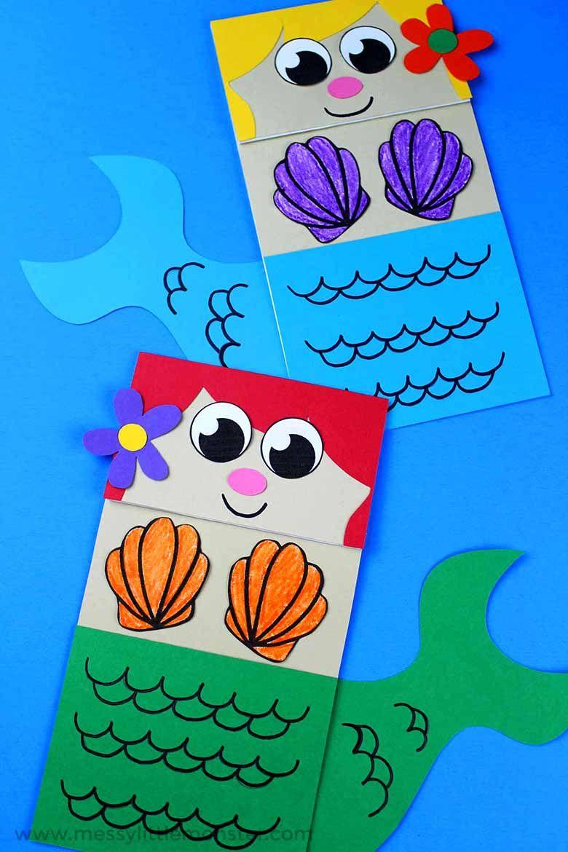 paper bag mermaid under the sea craft