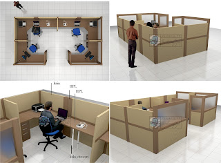 Jual Meja Kubikel Kantor Bentuk U + Furniture Semarang