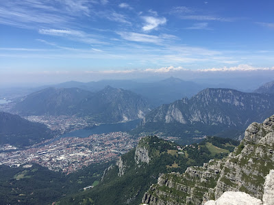 View over Piani d'Erna toward Lecco, Lago Como, and Como.