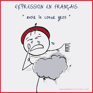 expression illustrée, avoir le coeur gros, français illustrée, expressions, FLE, le FLE en un 'clic'