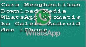 Cara Menghentikan Download Media WhatsApp Otomatis ke Galeri Android dan iPhone 1