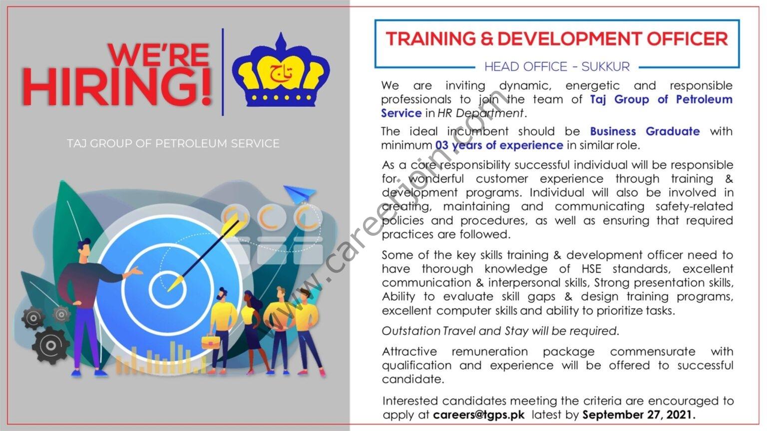 Taj Group Of Petroleum Service TGPS Jobs Training & Development Officer