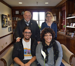 Dr. Wood with Eileen MacAvery Kane, Adam Quinones, and Mariah Salter