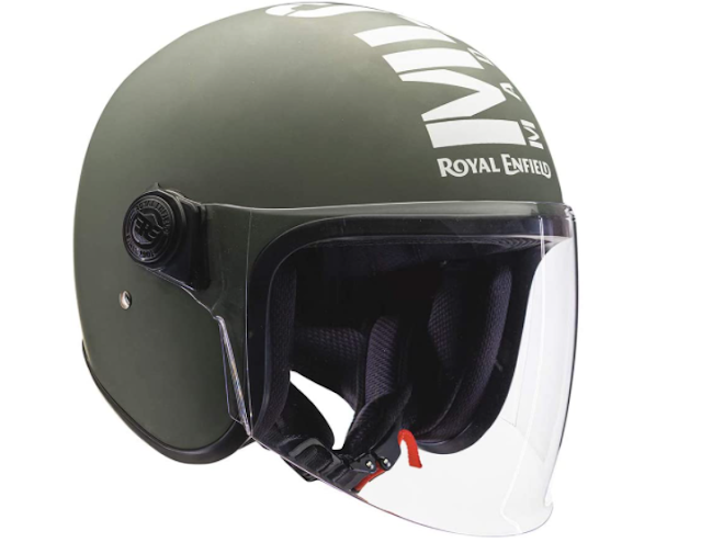 Royal Enfield OP MLG (V) Open Face with Visor Helmet Matt Battle Green (M)57 CM (RRGHEM000184)
