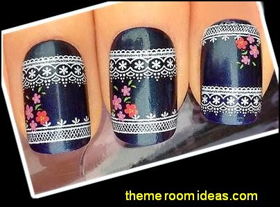 WHITE LACE & MINI FLOWERS NAIL ART WATER TRANSFERS DECALS