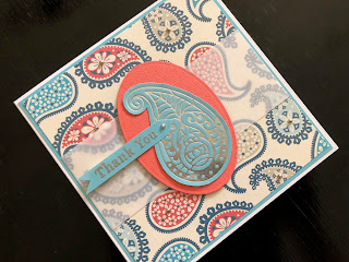 Hand Made Thank You Card with Hot Foil Paisley Drop and Paisley Patterned Background