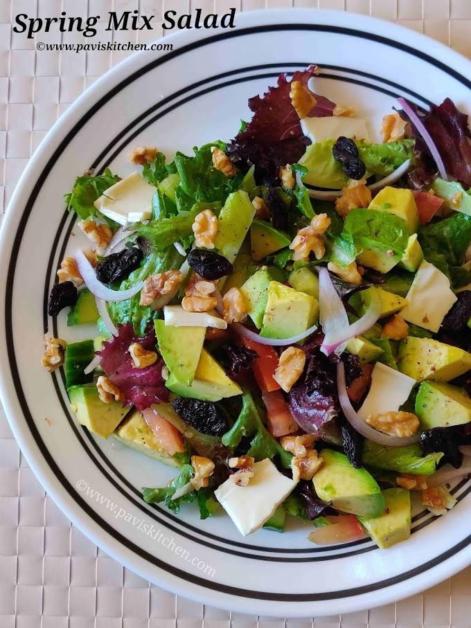 Easy spring salad recipe | Spring green salad recipe | Baby spring mix salad recipe