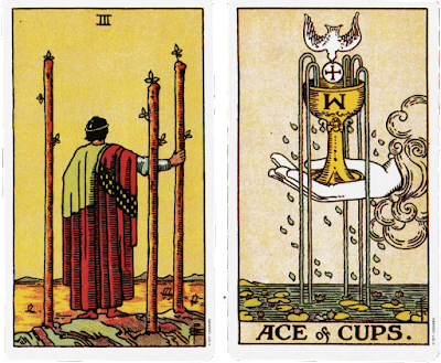 Original Rider Waite Tarot Three of Wands Ace of Cups