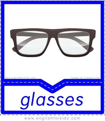 Glasses - clothes and accessories flashcards to learn English