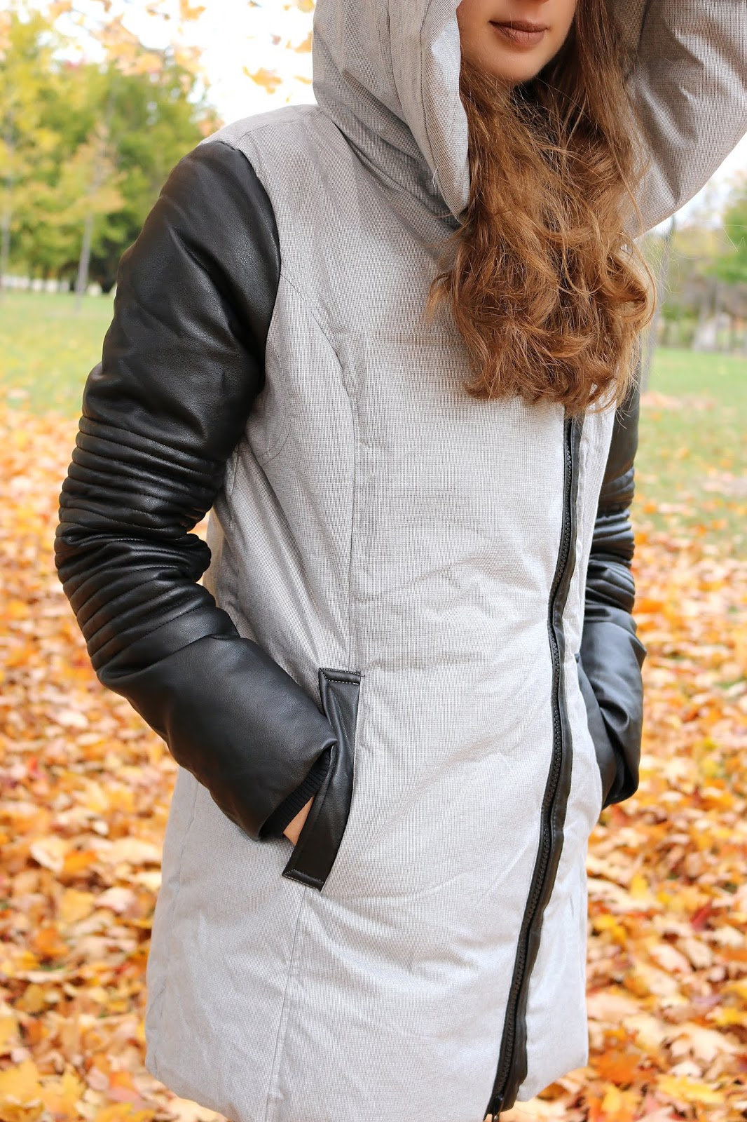 Noize Original Joyce Jacket Oversized Hood Vegan Leather Sleeve