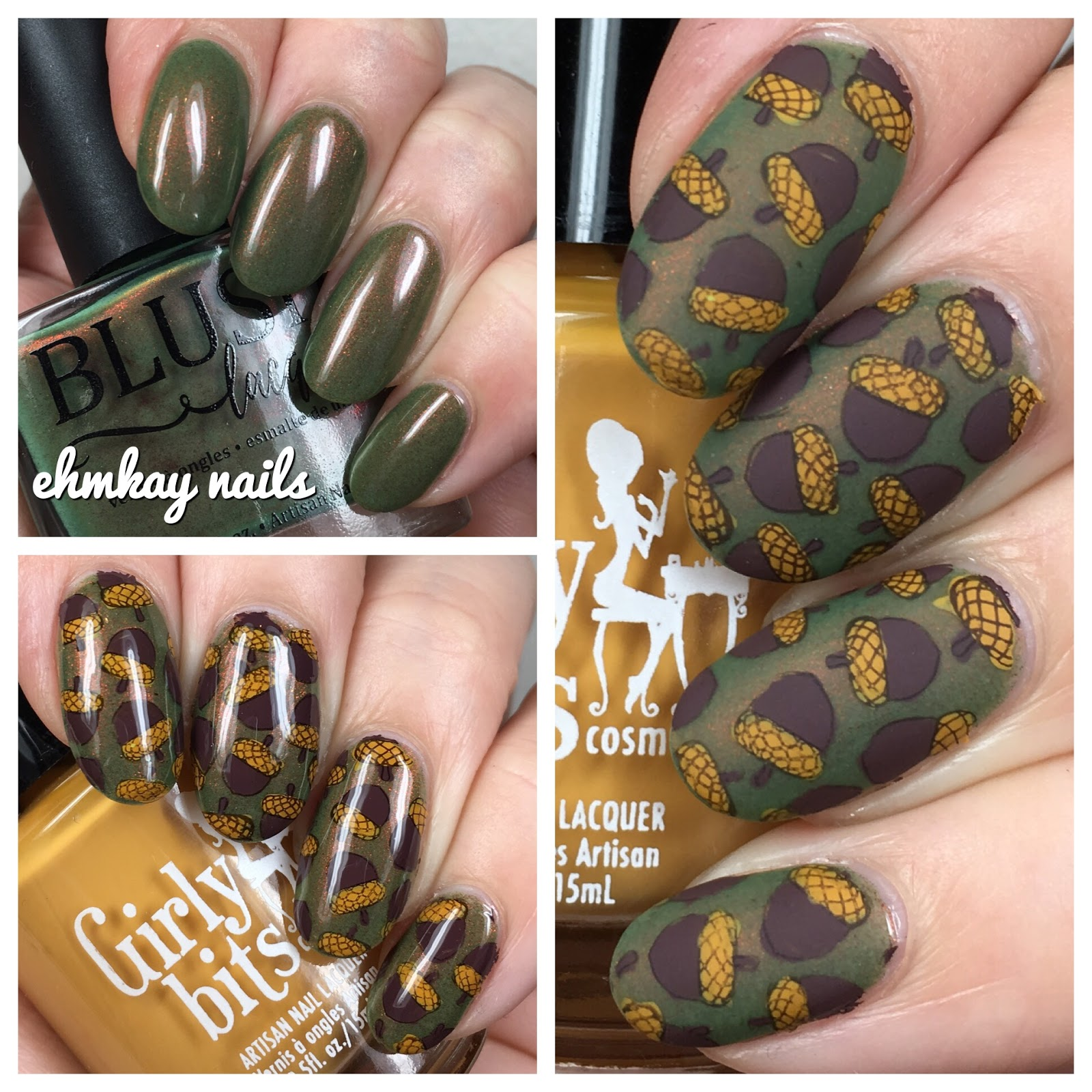 ehmkay nails: Acorn Nail Art: Reverse Stamping with Girly Bits over ...