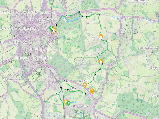 Map for Walk 23: Hatfield-Wildhill-Brookmans Park and Welham Green Created on Map Hub by Hertfordshire Walker Elements © Thunderforest © OpenStreetMap contributors There is an interactive map embedded at foot of this page