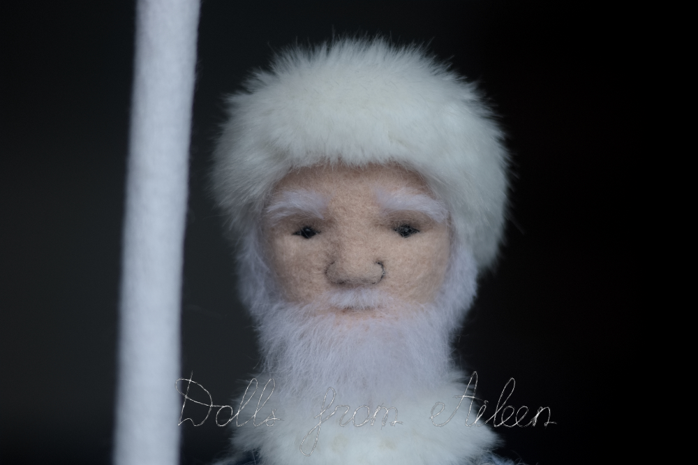 OOAK needle felted Father Frost doll showing the way