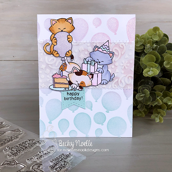 Happy Birthday by Becky features Birthday Bash, Newton Loves Cake, Confetti, Balloon, and Frames & Flags by Newton's Nook Designs; #newtonsnook