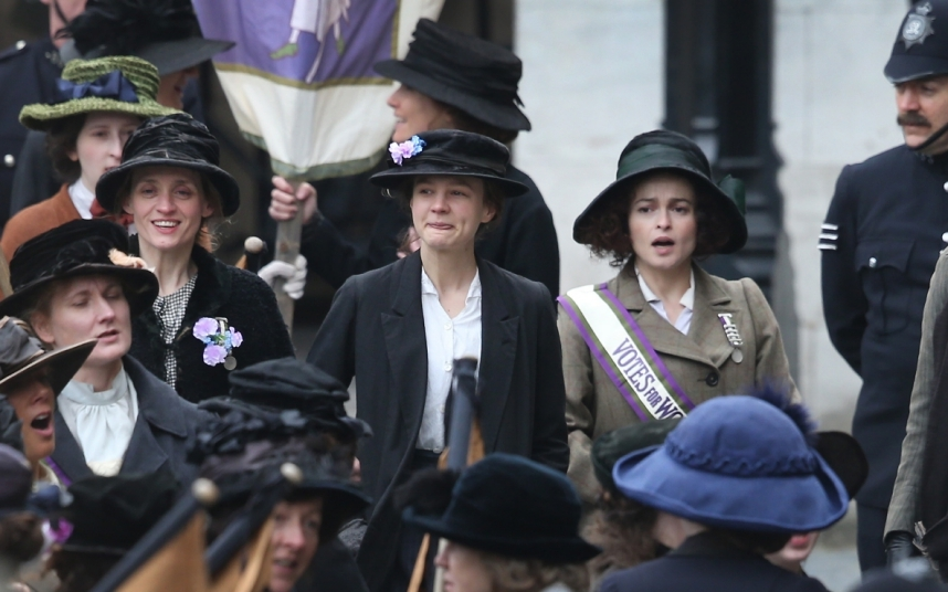 Anne-Marie Duff, Carey Mulligan and Helena Bonham-Carter during filming for Suffragette. The film is the first movie in history to be shot at the Houses of Parliament, with the permission of MPs. It's due for release on October 30.