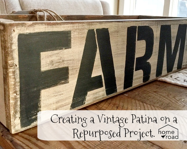 vintage crate with a farmhouse stencil and a painted patina www.homeroad.net