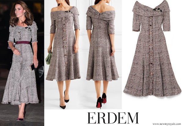 Kate Middleton wore ERDEM Iman off-the-shoulder embellished bouclé-tweed midi dress