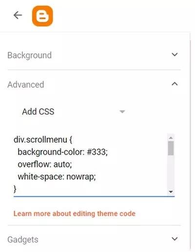 contoh penempatan CSS ke dalam kolom widget CSS blogger