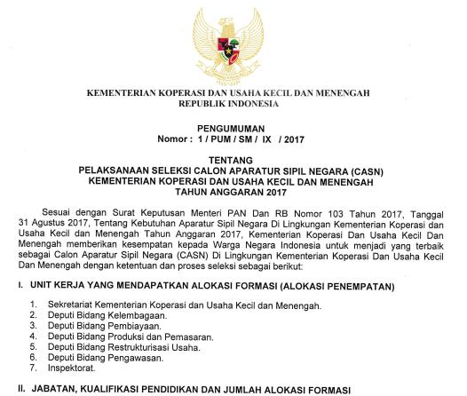 KUKM - Soal dan Pendaftaran CPNS Kementerian Koperasi dan Usaha Kecil dan Menengah 2017