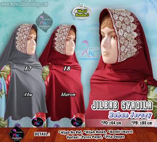 Jilbab instan cantik bahan jersey jeruk brokat import(3)