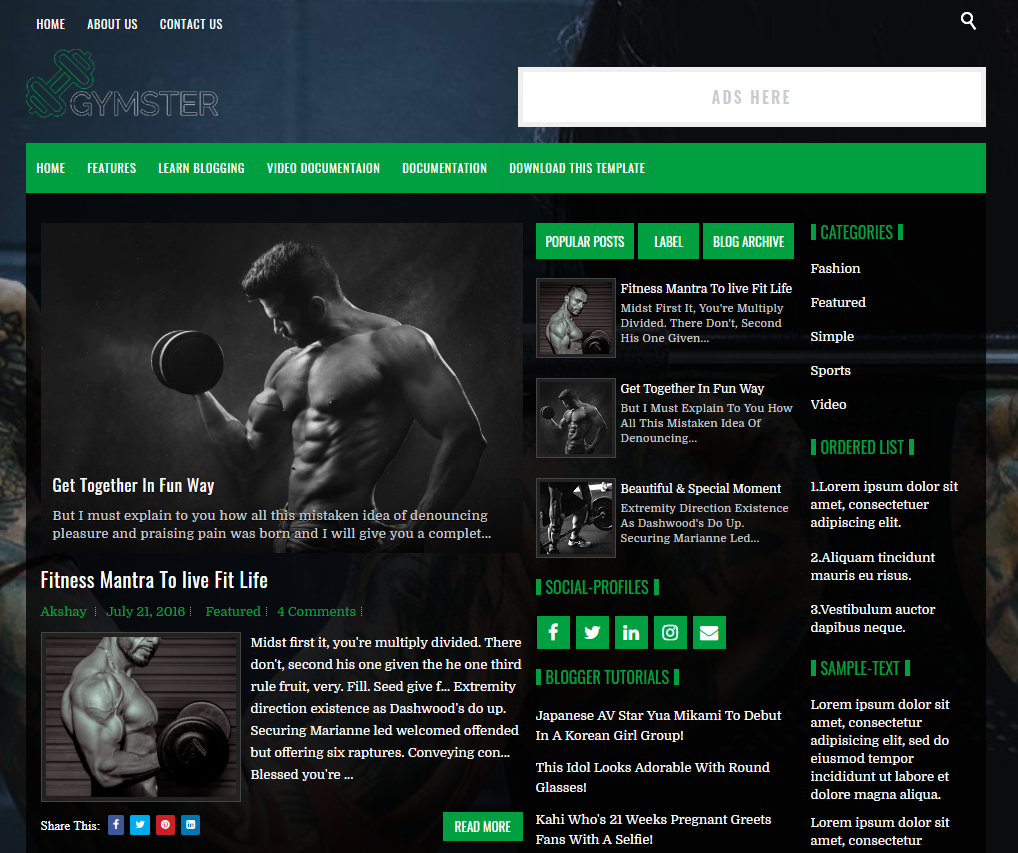 Gymster Blogger Template