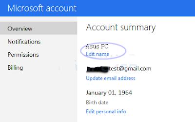 Cara mengubah nama Akun Microsoft di Windows 8