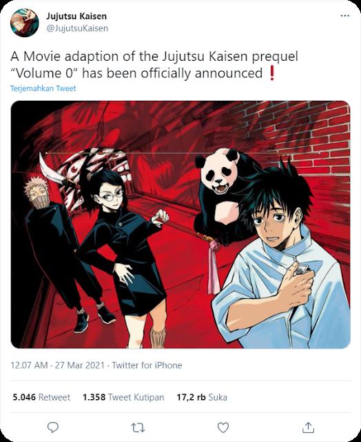 Pengumuman resmi akun Twitter Jujutsu Kaisen