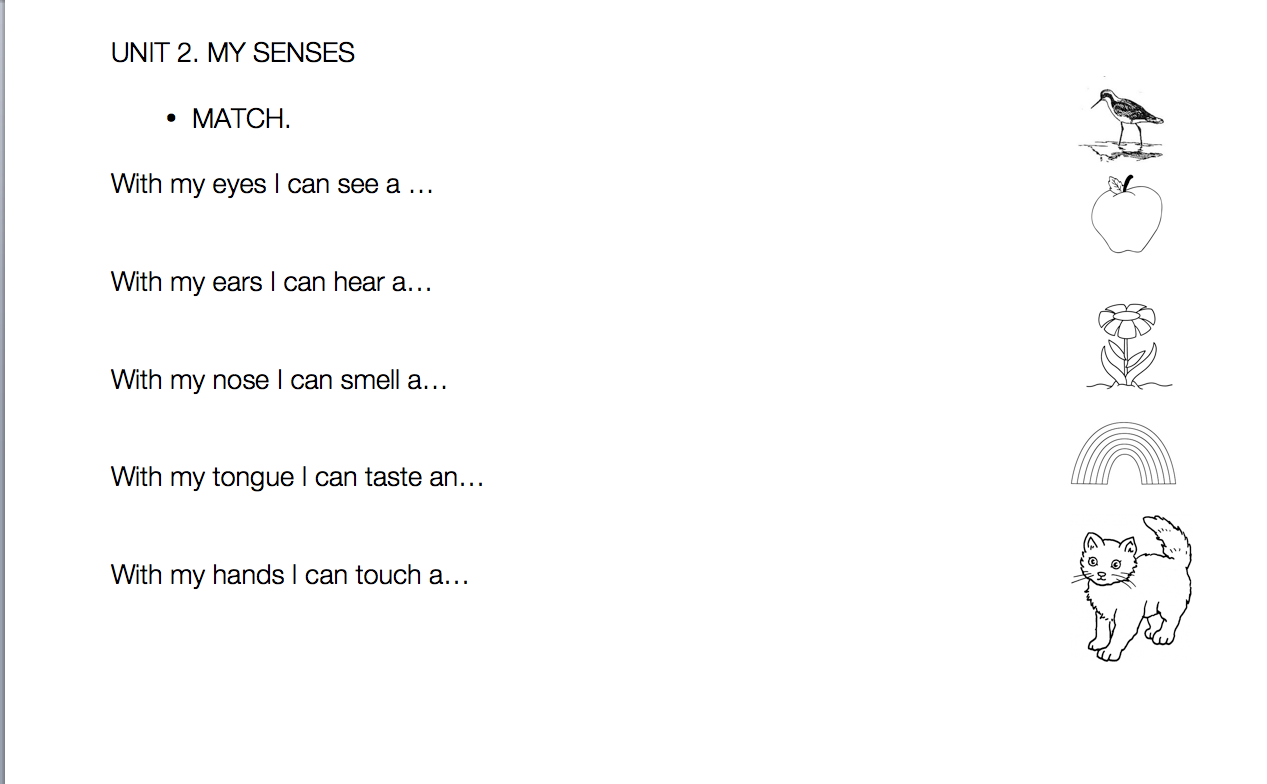 Teacher Nuria Five Senses Worksheets