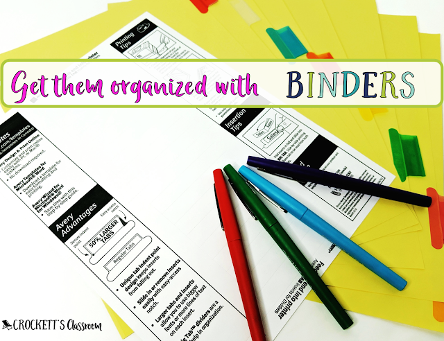 Binder dividers are the key to organizing the materials inside.  This set has a printable page.  You can print a set for every student so they all have the same tabs.