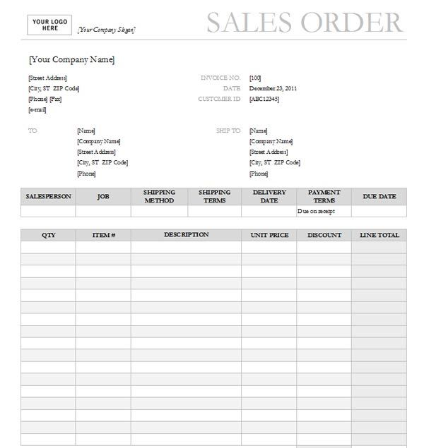 Professional Sales Order Form Templates Printable - Excel Template - free printable order form