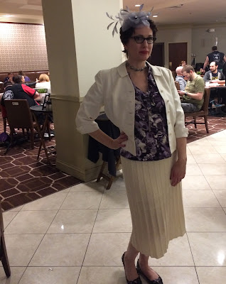 Gail Carriger Purple Flower Top & Vintage 1970s Cream Knit Skirt at ConFusion, Detroit 2017