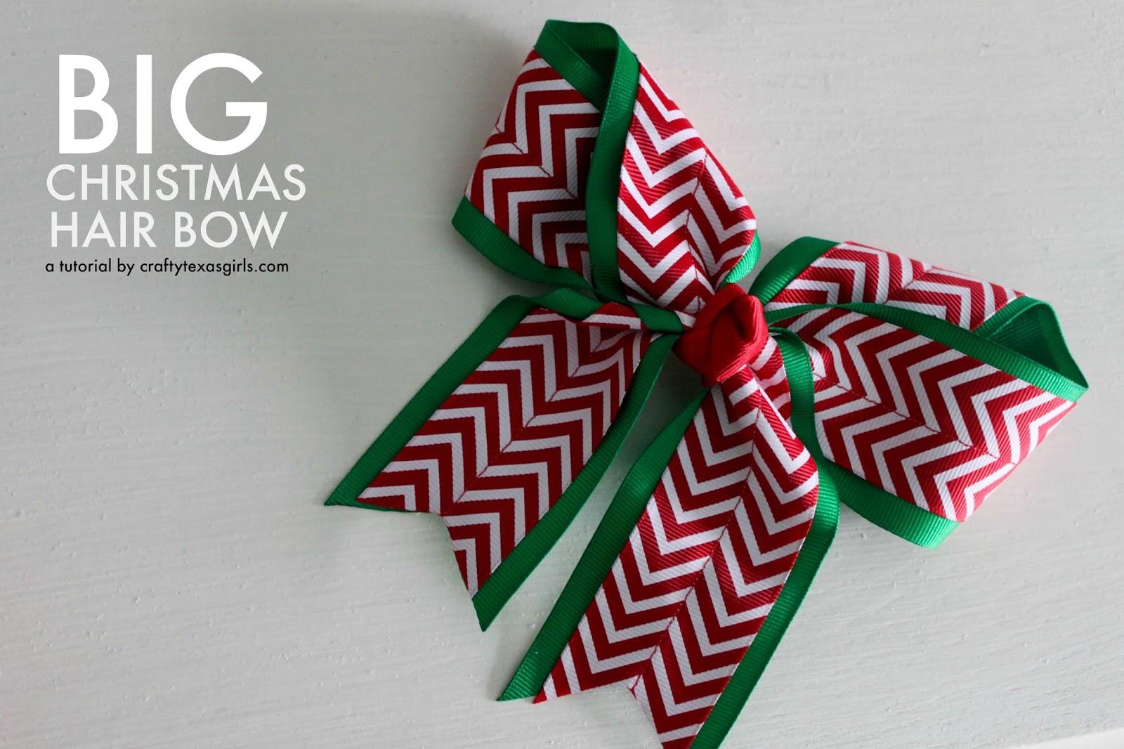 crafty texas girls diy big christmas hair bow - How To Make A Big Christmas Bow