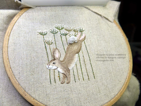 Jenny McWhinney's Queen Anne's Lace Travelling Work Station: Embroidered hare and flowers complete for now