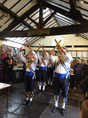 The Mersey Morris Men performing indoors on a rainy Apple Day at Eastham Country Park