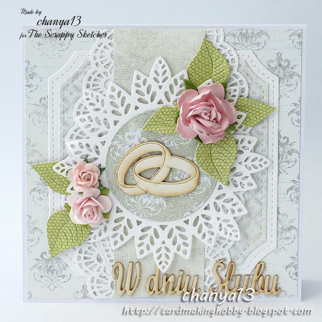 315. Kartka ślubna z obrączkami
