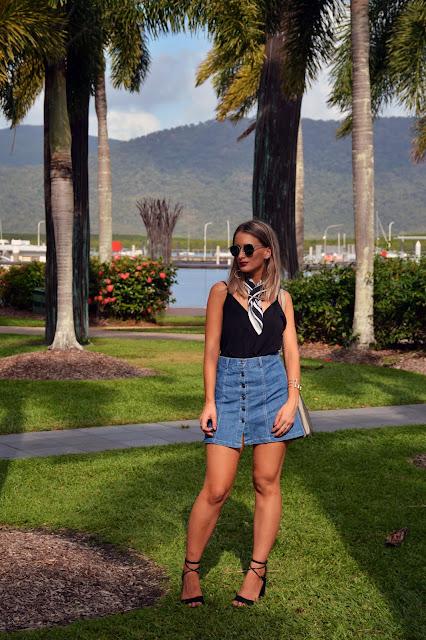 australian minimalist street style button up denim skirt wrap top silk scarf