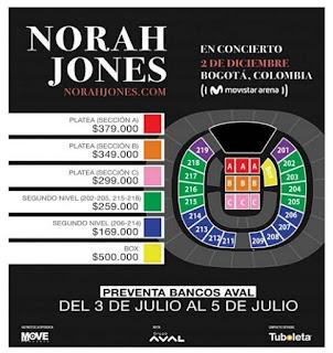 VALORES BOLETAS NORAH JONES
