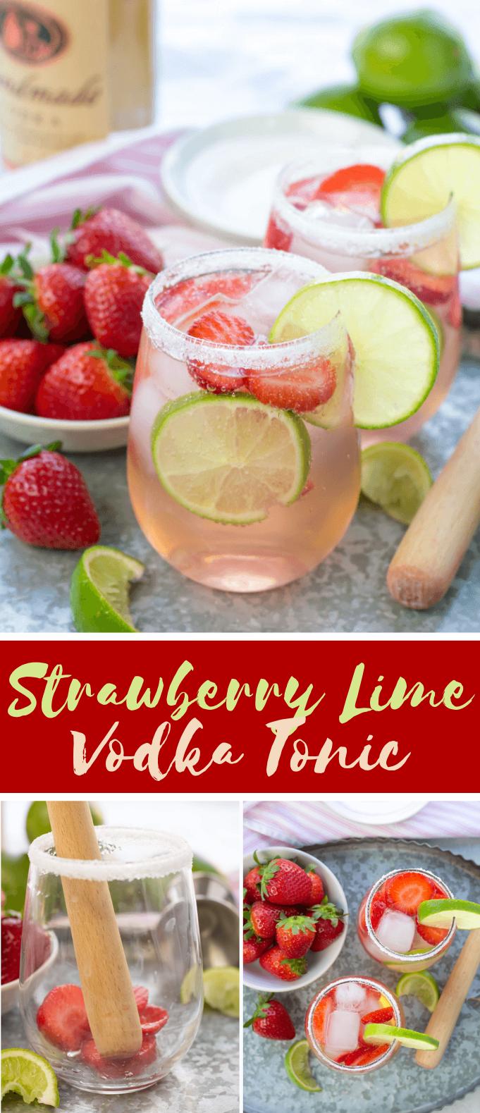 STRAWBERRY LIME VODKA TONIC #cocktails #freshdrink