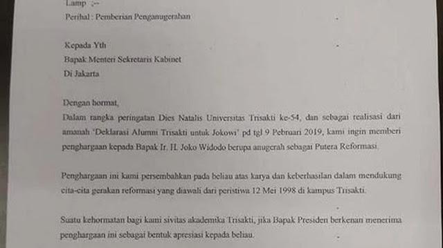 Internal Trisakti Curiga Gelar Putra Reformasi Jokowi Cuma Akal-Akalan