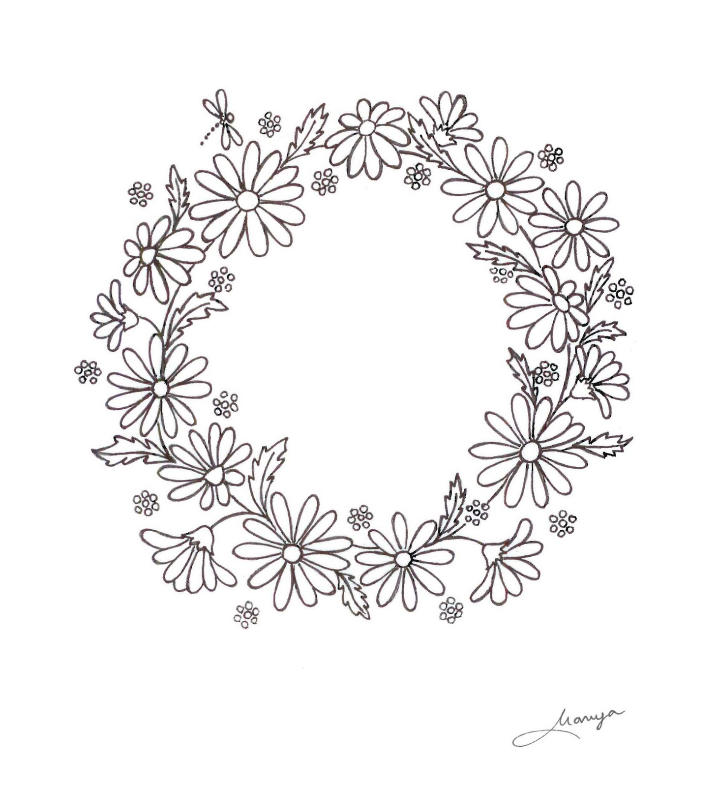 Humming Needles Daisy Wreath Design