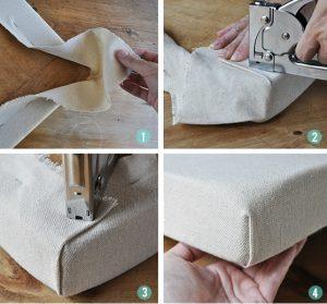 como grapar esquinas en tapiceria de sillas