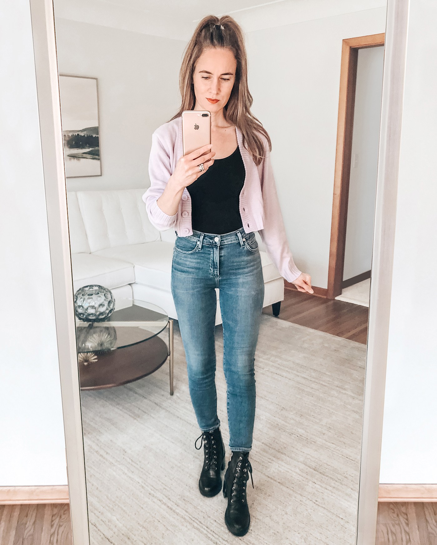 purple crop cardigan, black tank, spring outfit, combat boots, spring trends 2021