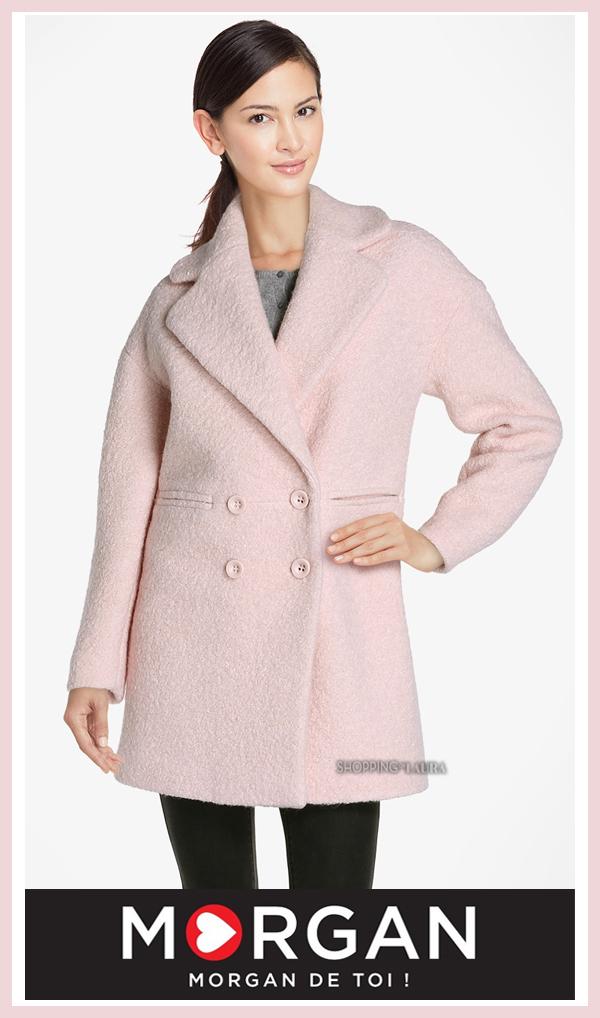 Manteau en laine rose MORGAN