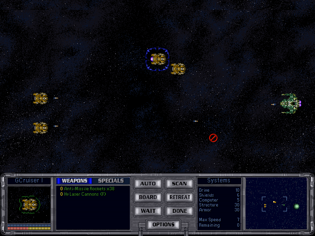 Screenshot of a ship battle in Master of Orion II