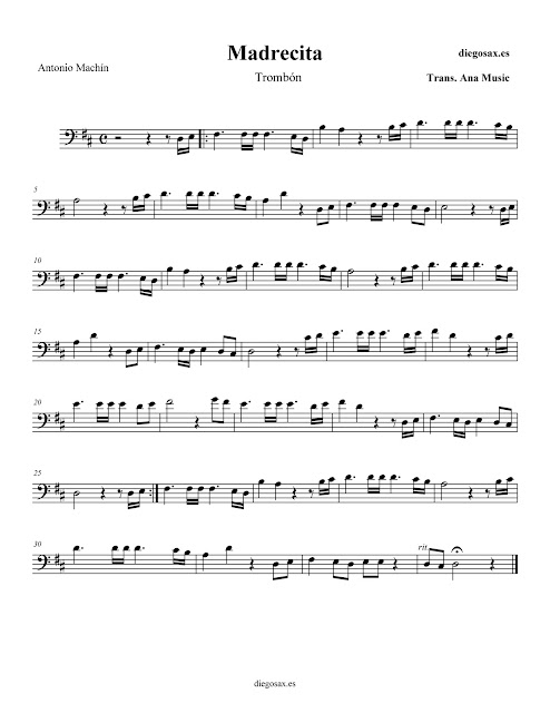 "PARTITURA ""MADRECITA"" de ANTONIO MACHÍN - TROMBÓN - sheet music for trombone"