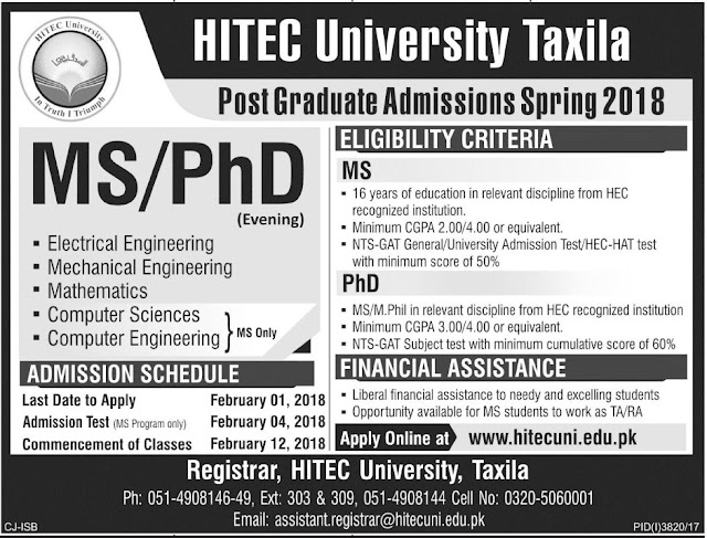 Admissions Open in HITEC University Taxila 2018