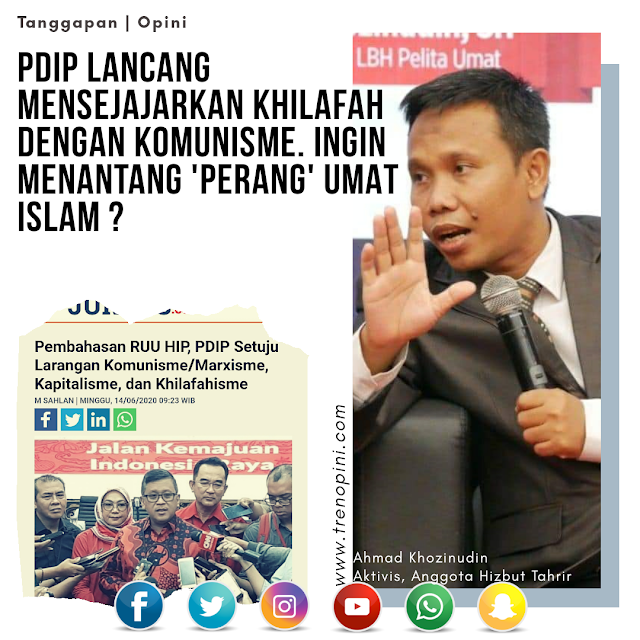 PDIP LANCANG MENSEJAJARKAN KHILAFAH DENGAN KOMUNISME. INGIN MENANTANG 'PERANG' UMAT ISLAM ?