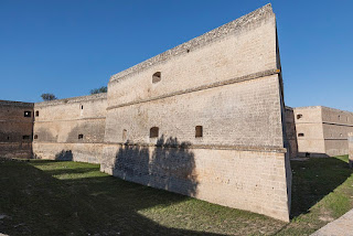 Copertino Castle, built in 1540, has tapered ramparts in each of its four corners